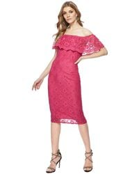 Red Herring - Bright Pink Lace Short Sleeve Knee Length Bardot Dress - Lyst