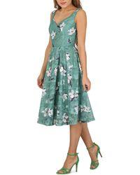 Jolie Moi - Dark Green Floral Print Lace Prom Dress - Lyst