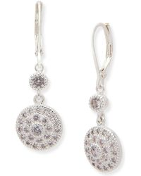 Anne Klein - Silver Tone Cubic Zirconia Leverback Earrings - Lyst