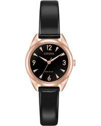 Citizen - Drive Rose-goldtone Dial & Black Vegan Leather Strap Watch - Lyst