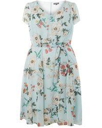 Dorothy Perkins - Billie & Blossom Curve Sage Floral Soft Belt Skater Dress - Lyst