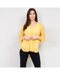 Izabel London V-neck Wrap Drape Blouse Top - Yellow