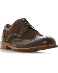 Dune Men's 'pillar' Mixed Material Brogue Shoes - Brown