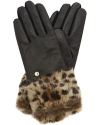 Dune - Black 'idele' Leather Glove With Faux Fur Cuff - Lyst
