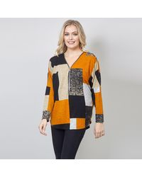 Izabel London Mustard Zig Zag Zip Front Jumper - Orange