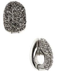 Anne Klein Silver And Crystal Hoop Earrings - Metallic