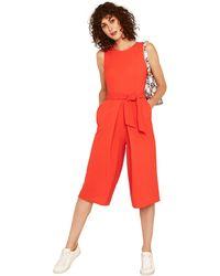 Oasis - Red Orange Sleeveless Plain Jumpsuit - Lyst