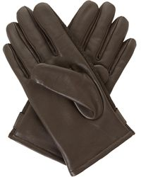 Dune Brown 'onasis' Mixed Fabric And Leather Gloves