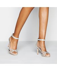 Faith Diamanté Strap 'dilton' Stiletto Heel Sandals - Metallic