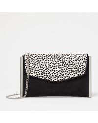 Faith Black Leopard Print 'pella' Envelope Clutch Bag