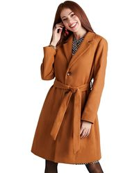 Yumi' Fitted Coat - Brown