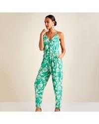 Yumi' Two Tone Flower Print Jumpsuit - Green