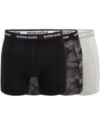 Björn Borg - Pack Of Three Grey And Black Plain And Printed Trunks - Lyst