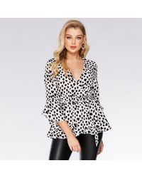 Quiz And White Heart Print Wrap Top - Black