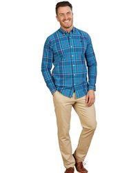 Raging Bull Big & Tall Long Sleeve Large Check Poplin Shirt - Blue