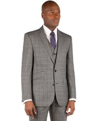 Ben Sherman - Grey Textured Check 2 Button Front Slim Fit Kings Suit Jacket. - Lyst