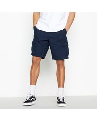Red Herring Navy Cotton Cargo Shorts - Blue