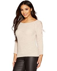 Quiz - Grey Knit Lace Up Long Sleeves Jumper - Lyst