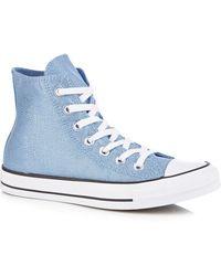ddeb4c6c3d65 Converse - Light Blue Glitter Canvas  chuck Taylor All Star  Hi-top Trainers