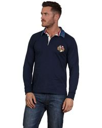 Raging Bull - Navy Embriodered Crest Rugby Shirt - Lyst