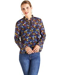 Yumi' Black Abstract Flower Georgette Top - Blue