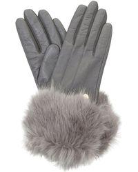 Dune - Grey 'ionna' Faux Fur Trim Gloves - Lyst