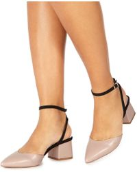 Faith - Light Pink 'carly' Mid Block Heel Pointed Shoes - Lyst