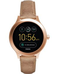 Fossil - Venture Light Brown Leather Strap Smart Watch - Lyst