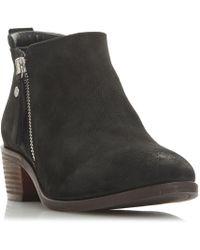 Dune - Black Leather 'putnam' Block Heel Ankle Boots - Lyst