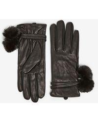 Dorothy Perkins Black Pom Pom Leather Gloves