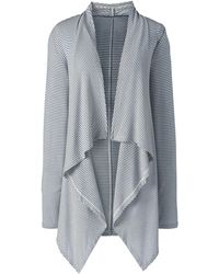 Lands' End Petite Striped Lightweight Waterfall Cardigan - Gray