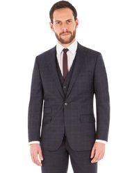 Ben Sherman - Slate Blue Tonal Check 2 Button Front Slim Fit Kings Suit Jacket - Lyst