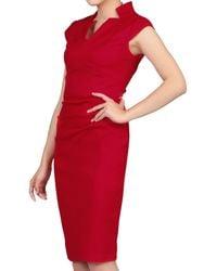 Jolie Moi - Red V Neck Ruched Shift Dress - Lyst