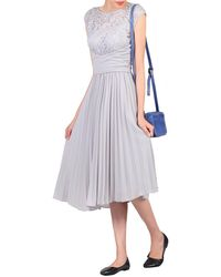 Jolie Moi - Grey Lace Bodice Pleated Prom Dress - Lyst