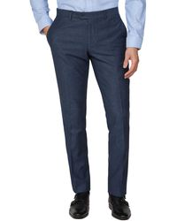Racing Green Navy Texture Tailored Fit Trousers - Blue