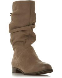 b4fda4a5d45c3 Dune - Taupe Leather  wf Rosalindd  Block Heel Wide Fit Calf Boots - Lyst