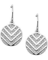 Fossil - Silver Chevron 'vintage Glitz' Drop Earrings - Lyst
