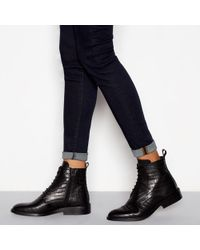 fa14e80be567 PrettyLittleThing Lace Up Heeled Croc Boots In Black in Black - Lyst