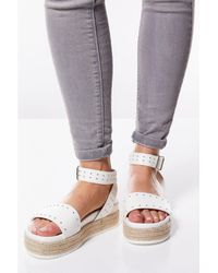 28231aa3d ASOS Wide Fit Temple Leather Flatform Sandals in Black - Lyst