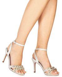 Faith - Ivory Metallic 'darha' High Stiletto Heel Ankle Strap Sandals - Lyst