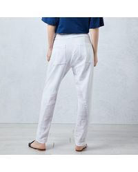 James Lakeland White Jersey Linen Trousers - Blue