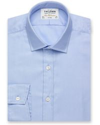 Tm Lewin - Fitted Plain Blue Luxury Twill Button Cuff Regular Sleeve Length Shirt - Lyst