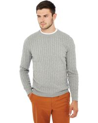 Racing Green Grey Cable Knit Jumper