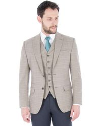 8bbff6e39 Oatmeal With Orange Check Wool Blend Tailored Fit Jacket - Multicolour
