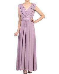 Jolie Moi - Light Purple Plunging V-neck Draped Maxi Dress - Lyst