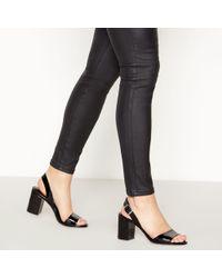 73008fd88b3a Faith - Black Patent  darylle  Mid Block Heel Open Toe Sandals - Lyst