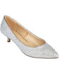 Lotus - Silver Diamante 'pinnacle' Mid Kitten Heel Court Shoes - Lyst