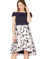 Izabel London - Navy Floral Bardot Dress - Lyst
