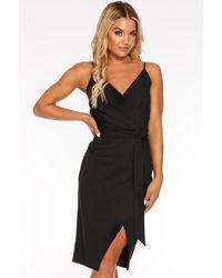 Quiz - Wrap Front Strappy Midi Dress - Lyst