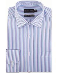 Double Two - Aqua Multi Striped Formal Shirt - Lyst
